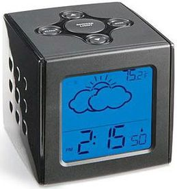 bookofjoe weather cube battery powered radio controlled alarm clock with day date calendar. Black Bedroom Furniture Sets. Home Design Ideas
