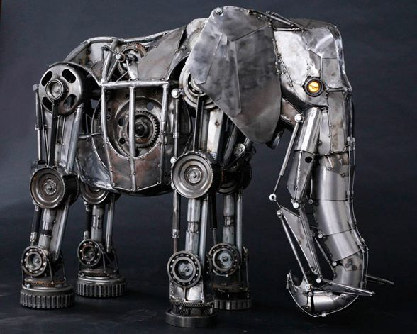 This amazing mechanical design was made out of transmission parts ...