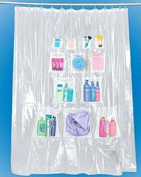 Shower Curtain With Storage Pockets P30172 500gkjyg